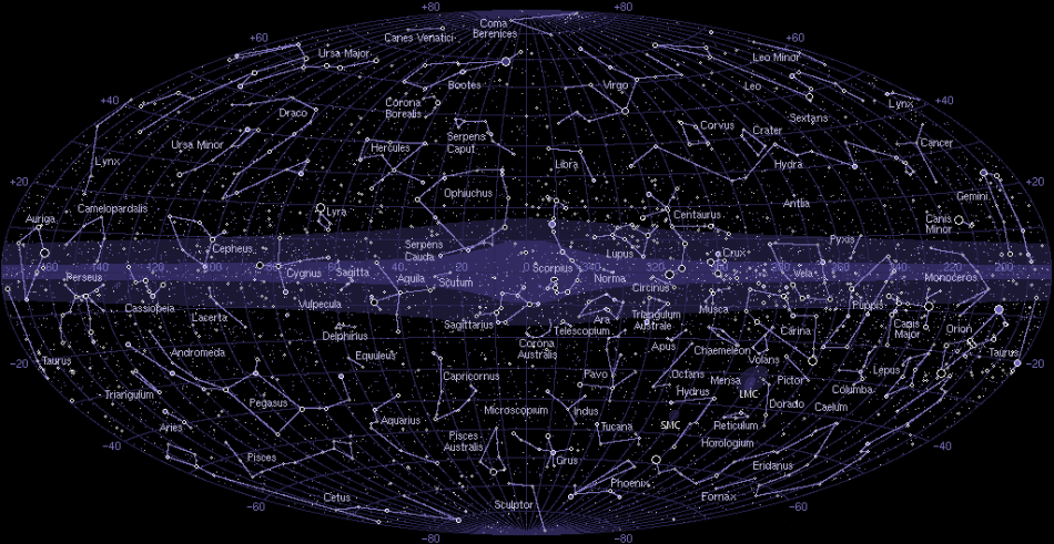 The 88 Star Constellations of the Night Sky