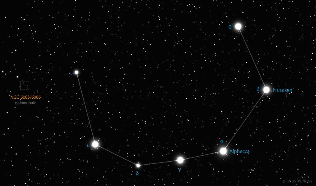 Corona Borealis Constellation Star Map Facts Go Astronomy